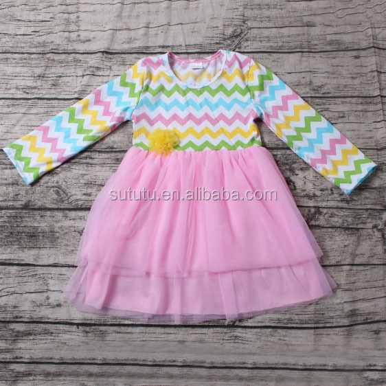 Hot Sale Fashion Girls Dresses many colours stripes with pink chiffon tutu dress spanish baby clothes