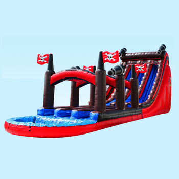 Pirate theme slip n slide with pool , inflatable slip n slide for sale