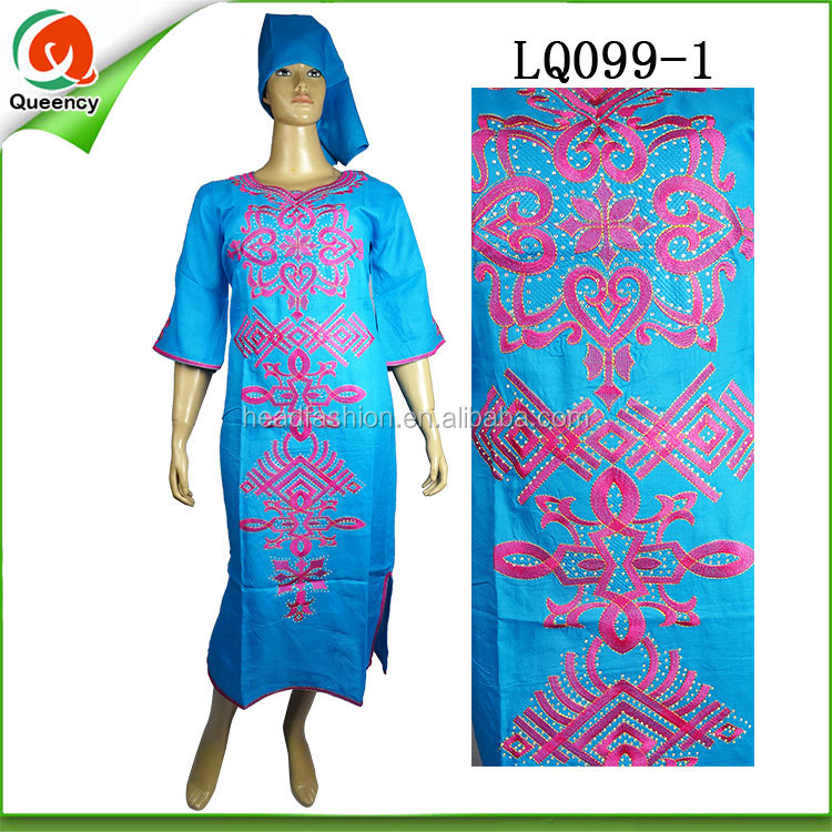 African Women Fashion Clothing Nigerian Style Linen Fabric Dashiki ...
