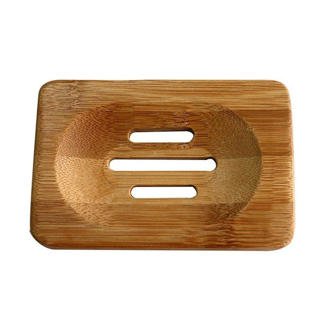 Ma.Lina Cute Natural Bamboo Soap Holder Dish Bathroom Shower Plate Stand Storage Wood Box