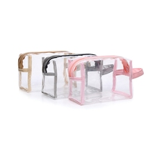 Pinky girl fashion clear makeup cosmetic transparent bag