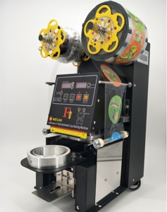70/75/90/95/98/120mm Plastic PP PET Bubble Tea Cup Sealing Machine/Automatic Heat Induction Cup Sealer Guanzhou