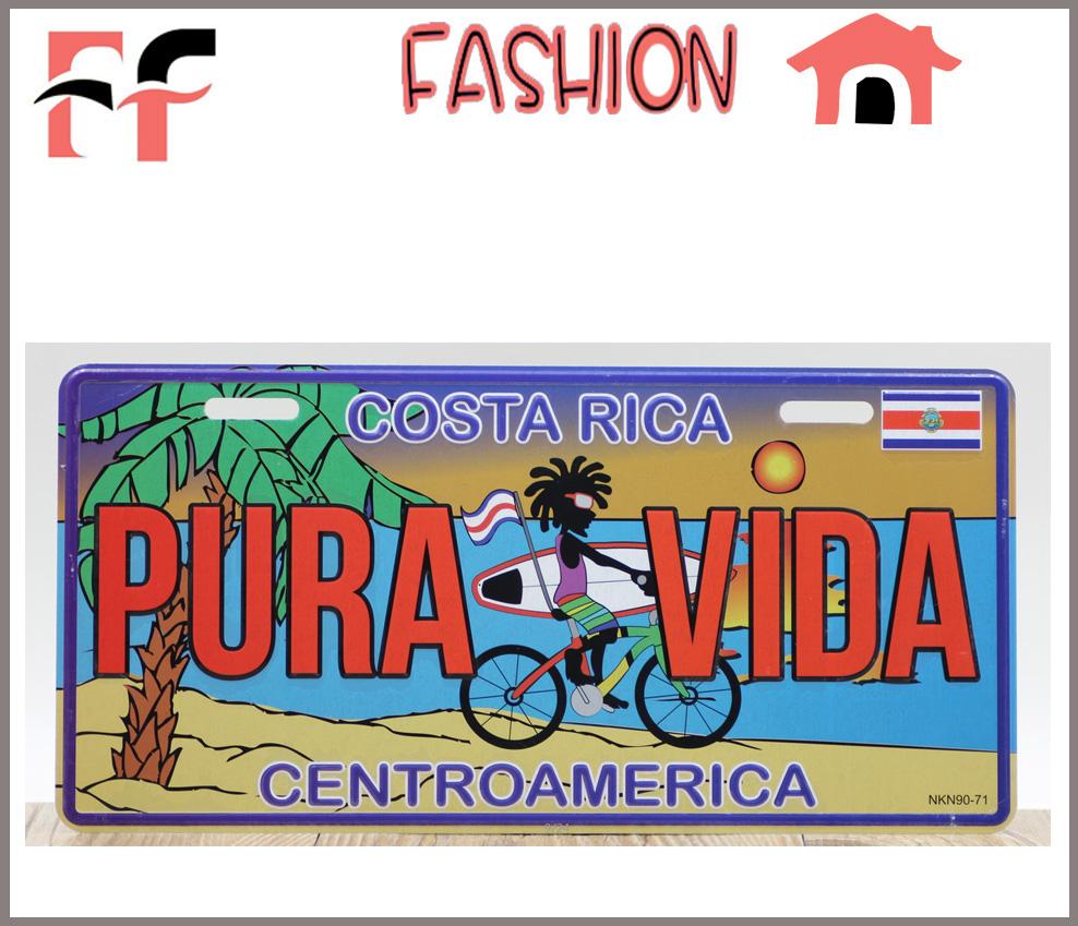 Vintage Tin Signs Metal Poster Retro Home Decor Costa Rica Centroamerica Placas Decorativas