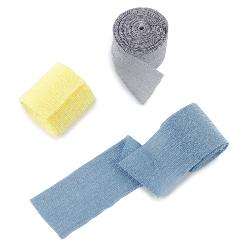 LaRibbons Chiffon Silk-like Ribbon - 2''X 6 Yard Each Roll - 3 Rolls (Dusty Blue + Lemon + Grey), Ribbons for Wedding Decor, Bouquets, Gift Wrapping