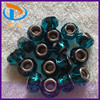 Hot Sale 14MM Big Hole Lake Blue Flat Round Lampwork Fashion Murano Glass Beads