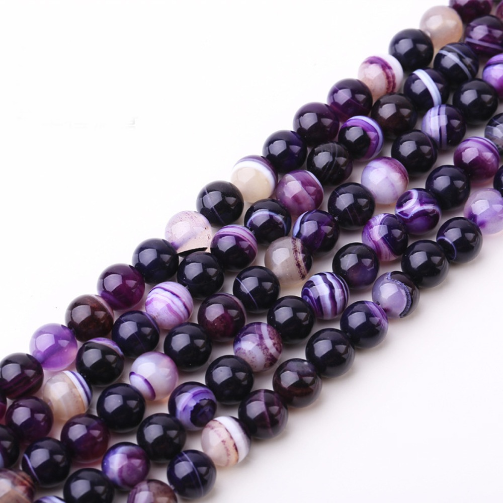 New!Purple Striped Agate Natural Stone Spacer Loose Beads for Making Jewelry Materials Free Shipping 4mm,6mm,8mm,10mm,12mm LIF