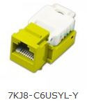 Keystone Jack, CAT6, Yellow, w cable holder