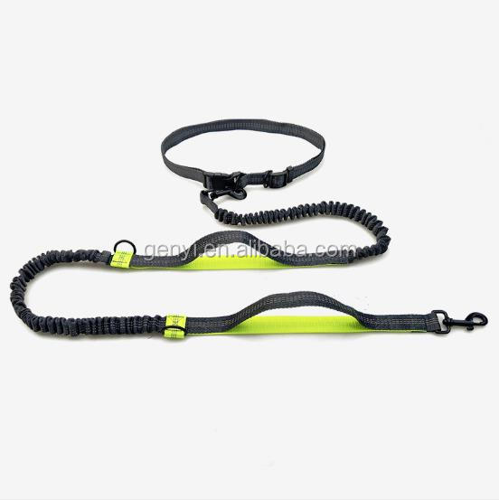 Professional Dog Leash Adjustable Nylon Handsfree Running Lead with Reflective Stitches for Training Walking Jogging and Running