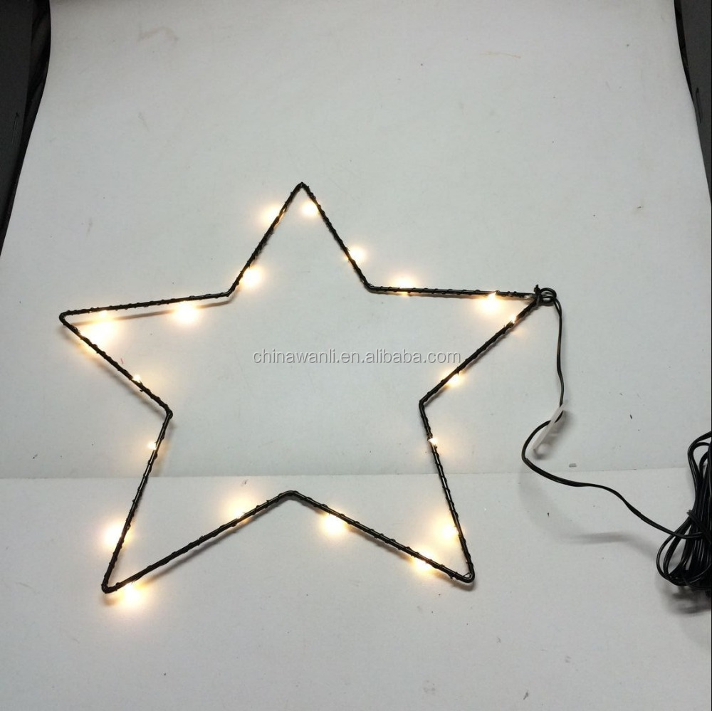 holiday light christmas light metal star metal heart with copper rice led light