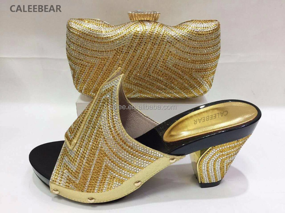 with Heels High African Bag for High and Italy Women Matching Queency Shoes Quality Wedding Rhinestones Set gFqWvn