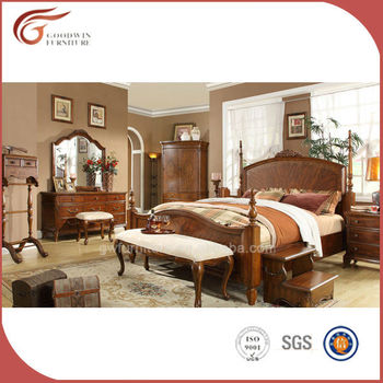 High End Royal Antique Solid Wood Furniture A06 Bedroom, Bed