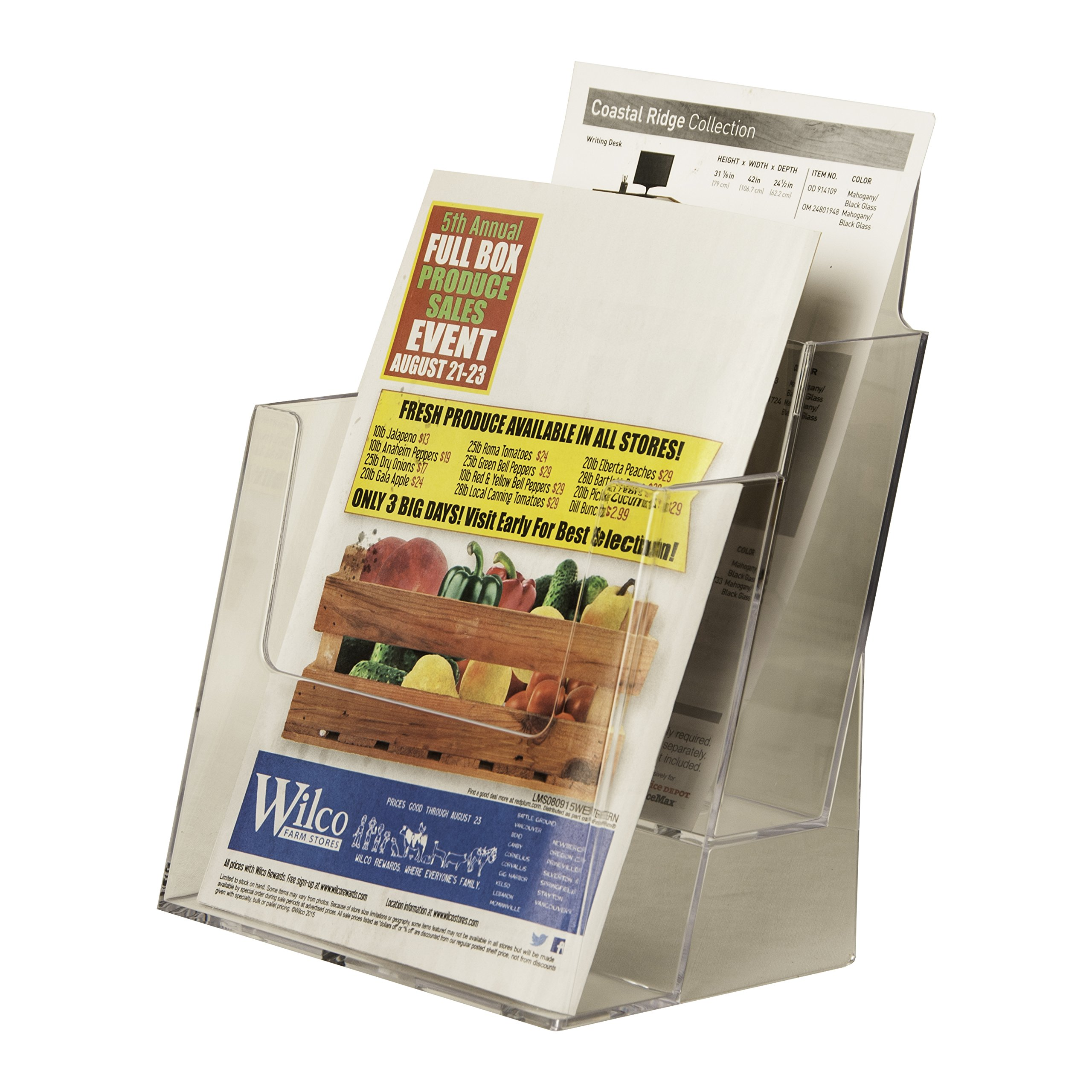 Clear-Ad - LHF-S112 - Acrylic Slant Back 2 Tier 2-Pocket Bifold Brochure Holder 6x9 - Perfect to Display Booklets, Catalogues, Pamphlets, Flyers, Postcards (Pack of 4)