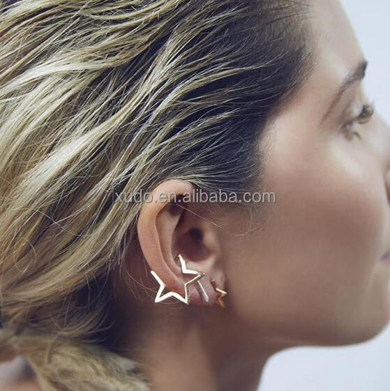 free shipping simple star earring no hole earring