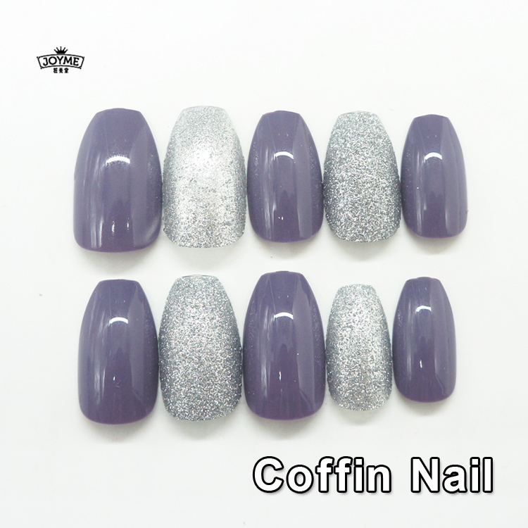 Newair Artificial Glitter Coffin Nails Personal Design Acrylic Nails ...