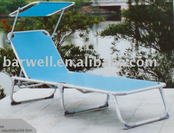Aluminum folding outdoor bed with sunshade