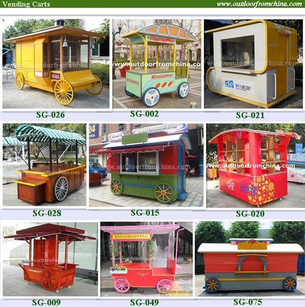 China outdoor street kiosk, food trailer, kiosk food cart with wheels