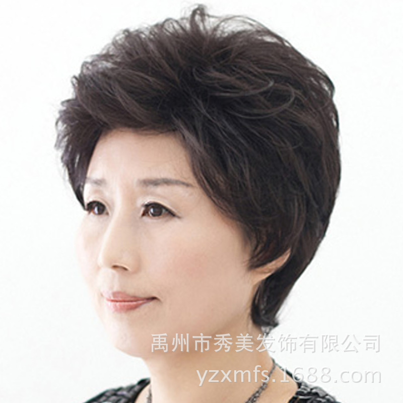 Middle Aged Woman With Short Hair Wig Elderly Entire Top Mom Really Fake In Price On M Alibaba
