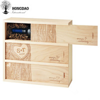HONGDAO custom logo natural color pine wooden wine gift packaging box with hinge lid wholesale price