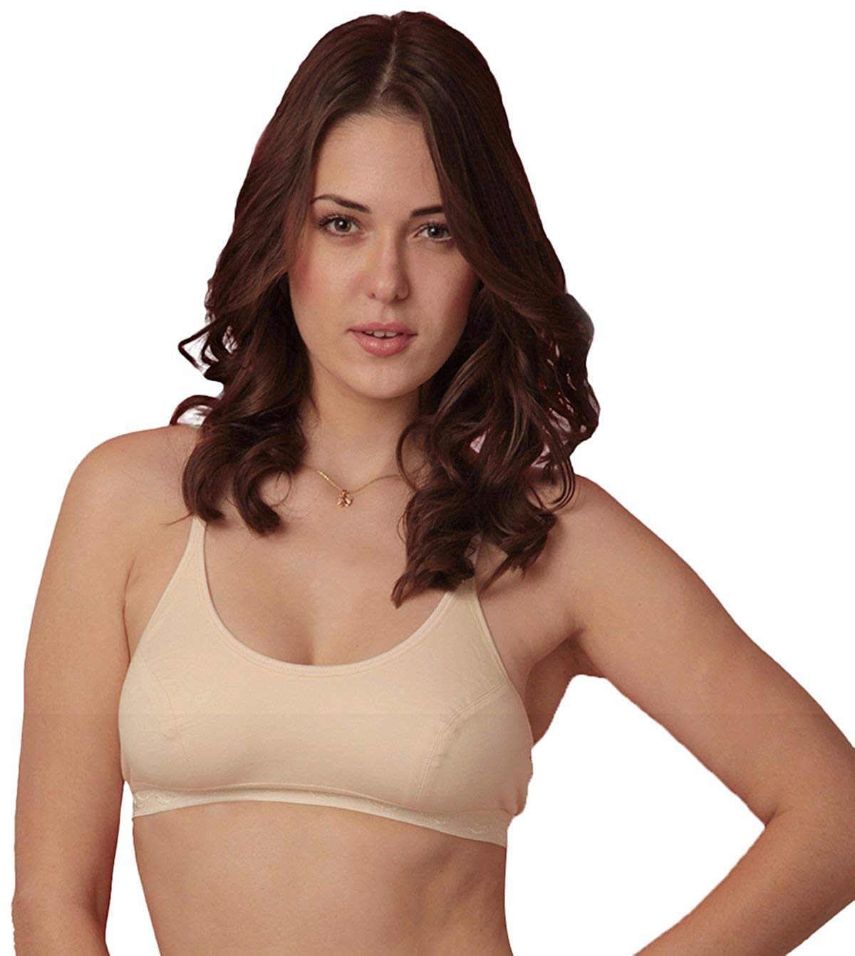 d1ac1b417 Get Quotations · Women Full Coverage Support Sports Yoga Bra Cotton  Circular Fitness Exercise- Beige