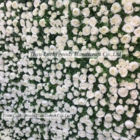 LFB417 Luckygoods factory handmade artificial white floral wall backdrop with green leaves