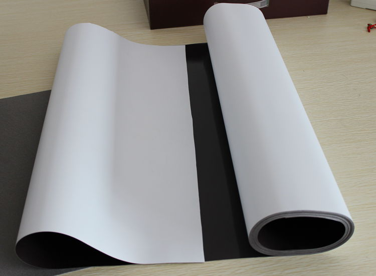 Magnetically Receptive Material Rolls With Adhesive Finish