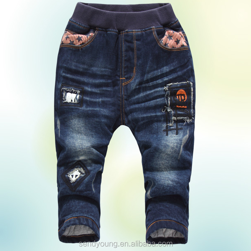 Huade winter boys harem broken Fashionable thicken fleece lined new pattern kids ripped jeans
