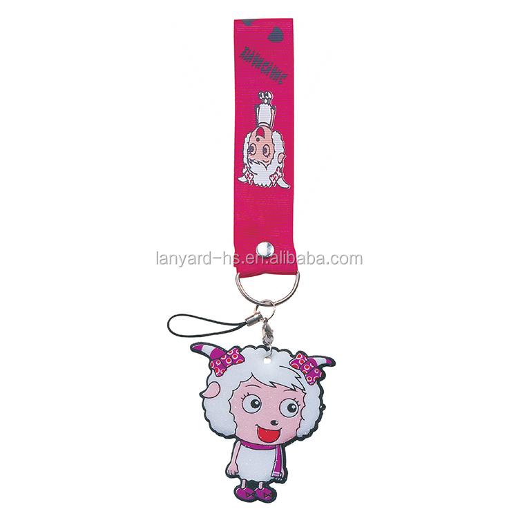 Hot sale custom logo cute wrist strap keychain for promotional