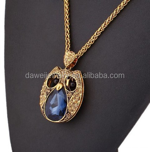 Popular style cute owl design blue stone necklace