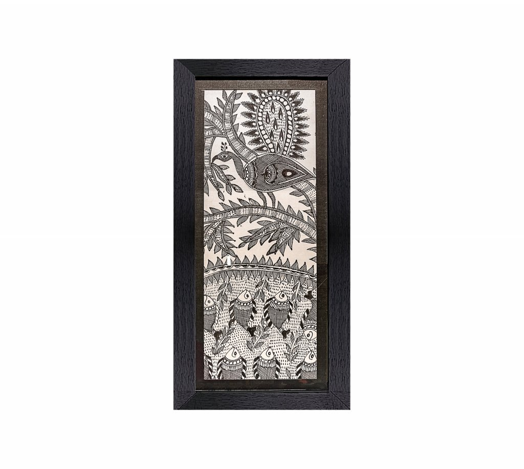 """Madhubani Painting-Traditional Framed Wall Art and Living Room Décor with Unbreakable Acrylic Glass- Handmade Painting on Pure Silk from the Times of Ramayana by Artisans from Rustic India-10""""x20"""""""