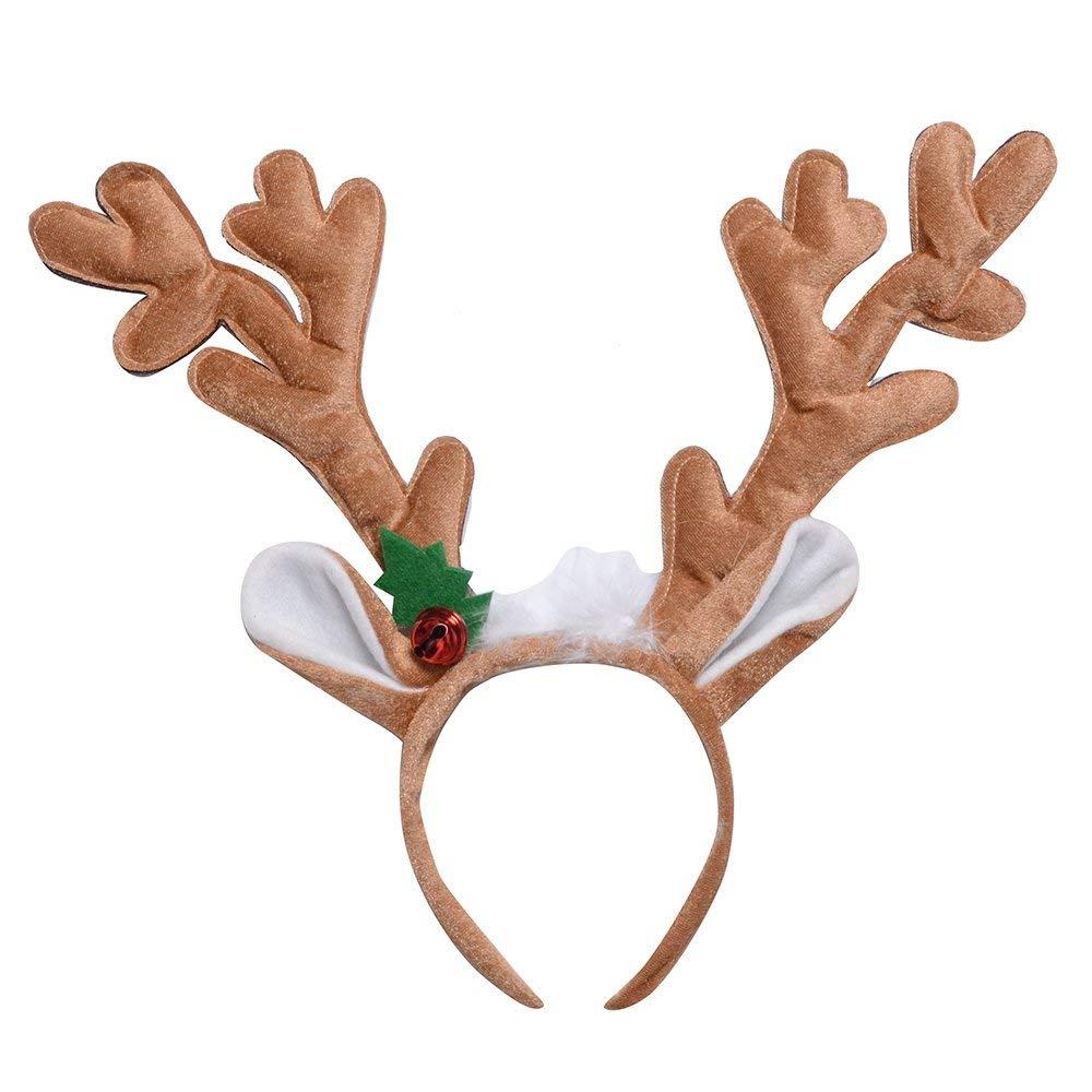 Pack of 12 Amosfun Cute Reindeer Antlers Headband Hair Hoop with Ears Headwear Christmas Costume Party Decoration Christmas Birthday Gift