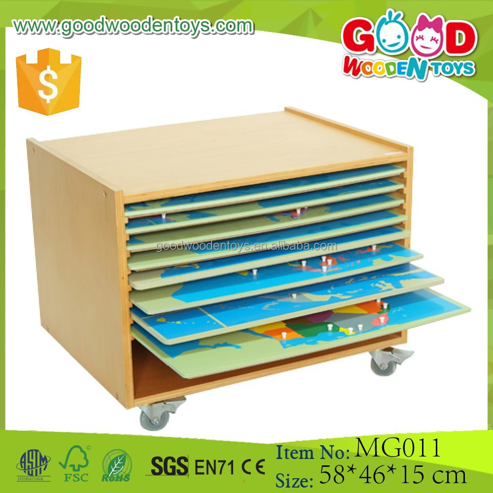 Preschool Geography Cabinet, Puzzle Maps, Montessori Teach Aids
