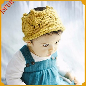 Cute Design Baby Wool Knit Visor Hat For Baby In Crown Pattern