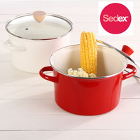 enamel handle carbon steel enamel high stock pot cookware set