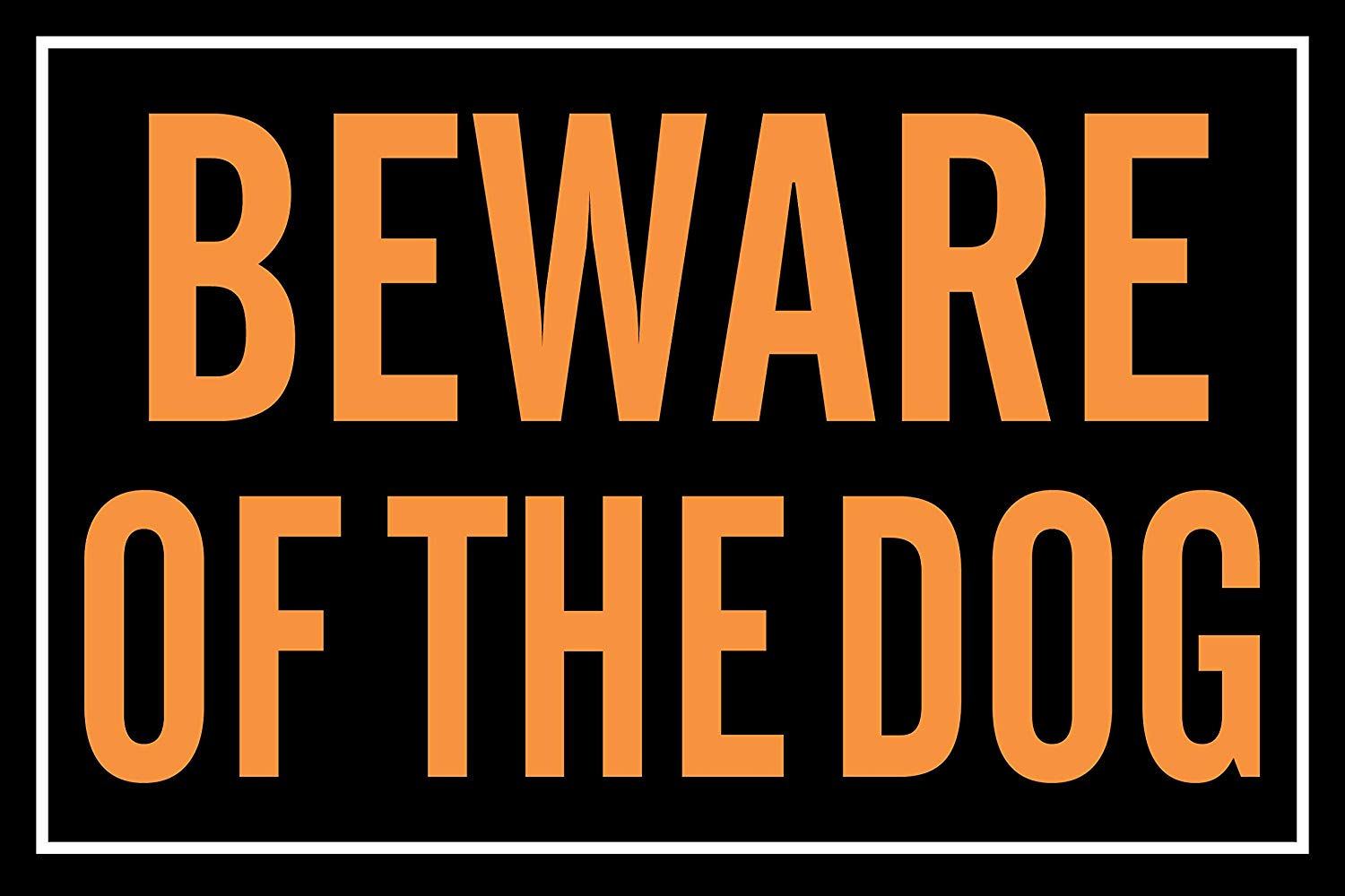 """BannerBuzz Beware of The Dog Yard Sign with Metal Stakes, Non-Reflective UV Print Corrugated Plastic Sheets for Indoor & Outdoor Garden Signs (18"""" (H) X 24"""" (W))"""