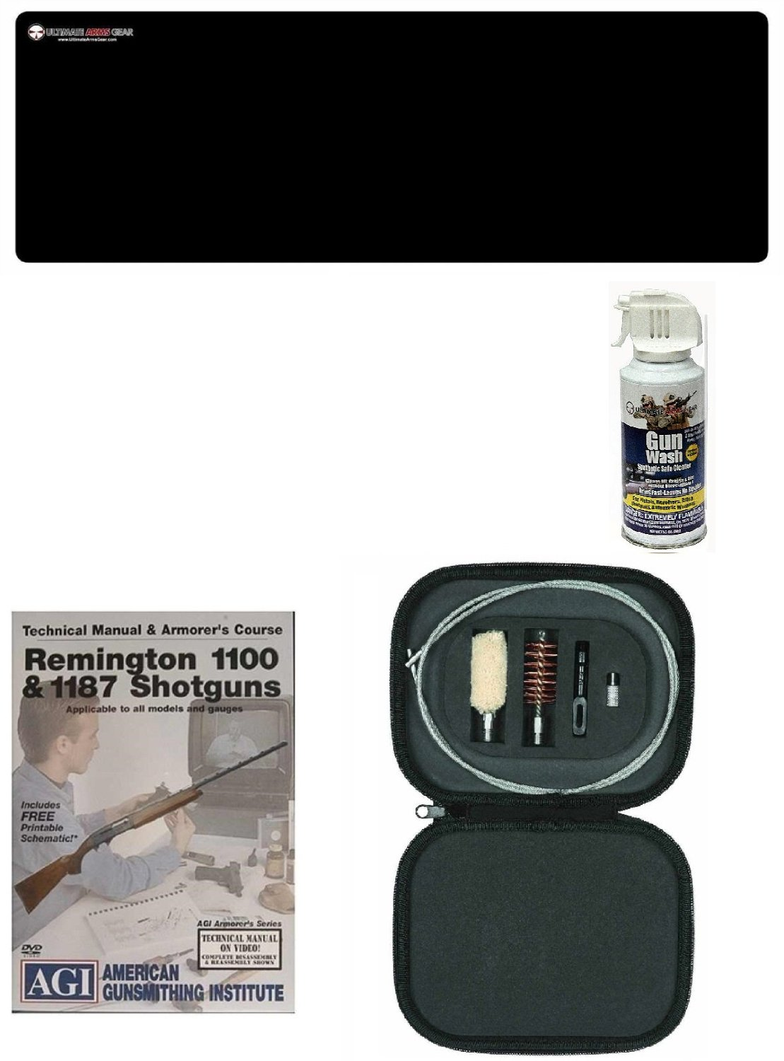AGI DVD Manual & Armorer's Course Remington 1100 & 1187 Shotgun + Ultimate Arms Gear Bench Gun Mat + Cleaning Tube Chamber 12 Ga. with Rod, Brushes, Swab, Tips & Patches + Gun Wash