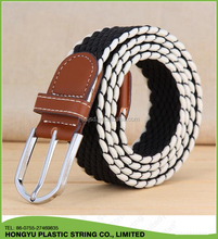 Braided elastic stretch men belt strip waist belt