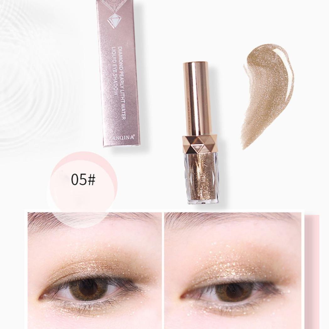 Certainer Liquid Eyeshadow Eyeliner, 6 Colors Magnificent Glitter Shiny High Pearl Liquid Eye Shadow Metallic Pigments Mineral Waterproof Eyeshadow Eyeliner Cosmetic Makeup (E)
