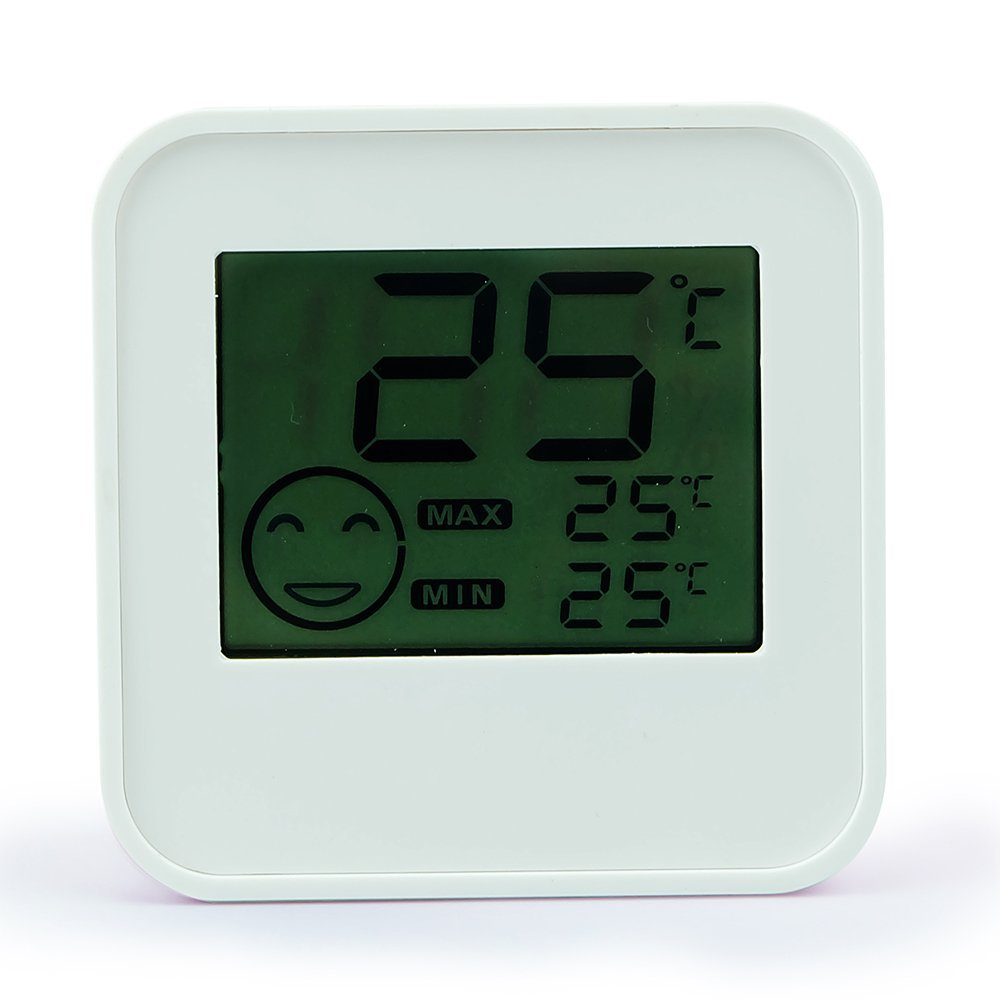 Ccoway DC205 Digital Thermometer Hygrometer with Magnet and Stand Function C/F Switch Max/Min Display White Color Abs Material