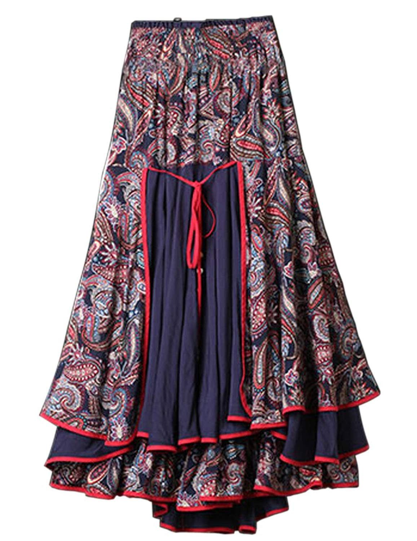 1945951e7c Get Quotations · CDCLOTH Women's Tee Dress National Wind Original Designs  Cotton Long Skirts