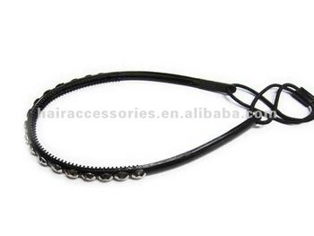 Thin Black Stretchy Plastic Headband With Studs And Teeth For Women ... e8d599311b0