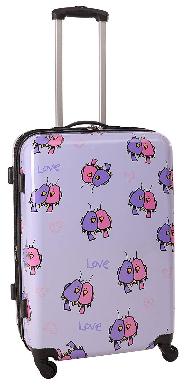 4da541f40 Ed Heck Multi Love Birds Hardside Spinner Luggage 25 Inch, Light Purple,  One Size