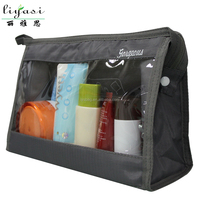 Ladies Travel Washable Toiletry Bag with Clear Pocket Cosmetic Bag