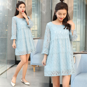 2018 New Fashion Plus Size Women Dress Summer Korean Style Elegant 34 Sleeve Lace Maternity Dresses Buy Long Sleevepink Lace Dressstylish Lace
