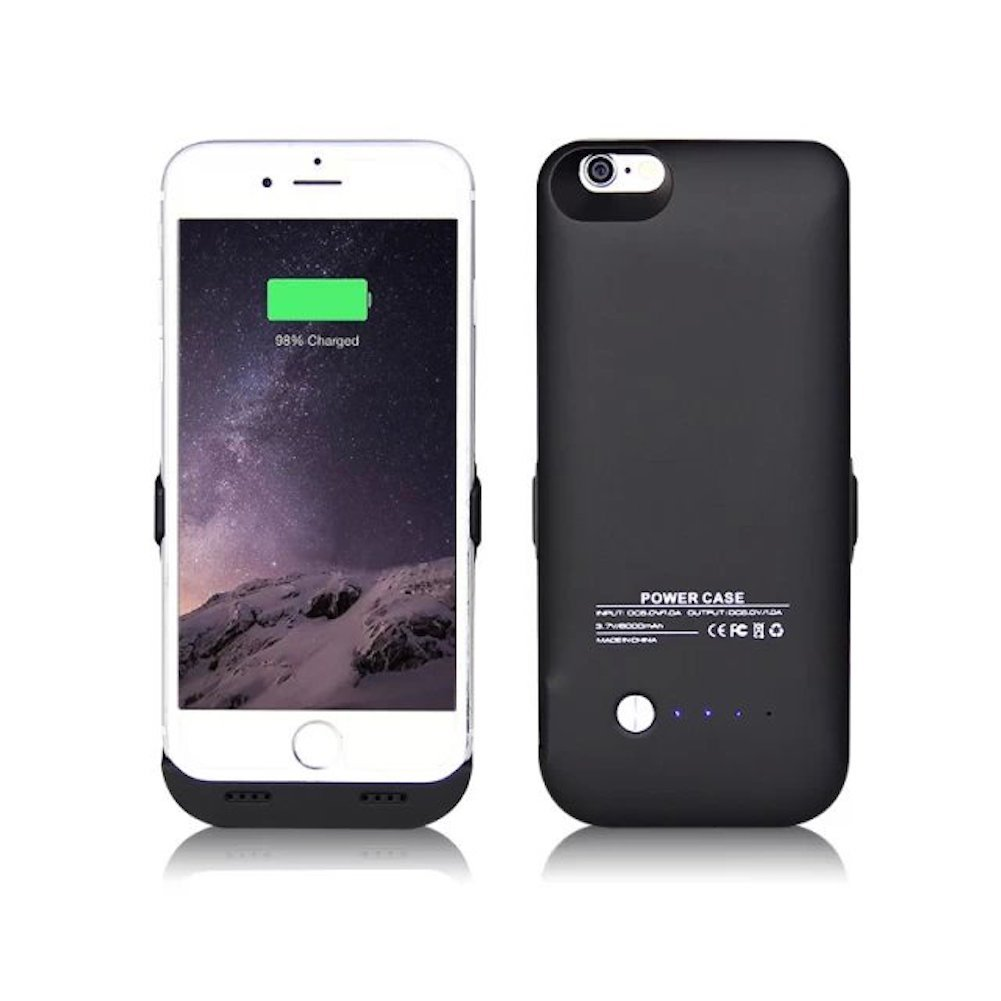 iPhone 6 Battery Case, 2015 Newest 6000mAh Ultra Slim Rechargeable Extended Charging Case for iPhone 6 4.7 inches, Backup External Battery Charger Case, Portable Backup Power Bank Case with Kickstand (Black)