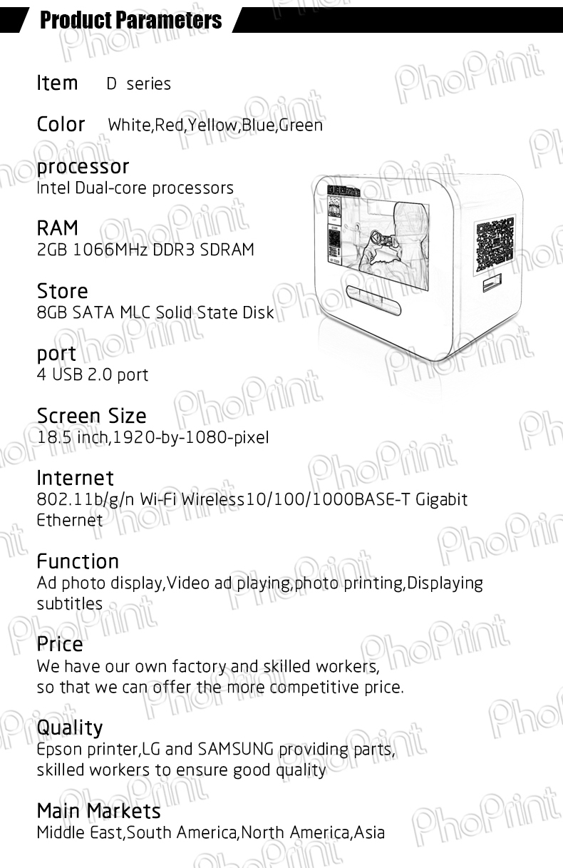 Color booth online - Portable Advertising Photo Printer Booth Mini Advertising Display Online Digital Software Management Mini Ad Player For