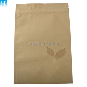 Chinese supplier Custom logo stand up Kraft paper bag with zipper for tea