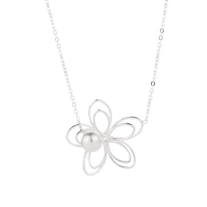 Popular 925 Sterling Silver Hollow Out Flower Women Necklace For Sale With Pearl
