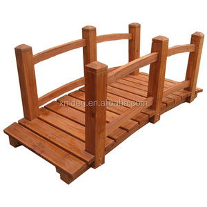 Stained Finish Decorative Solid Wooden Garden Bridge
