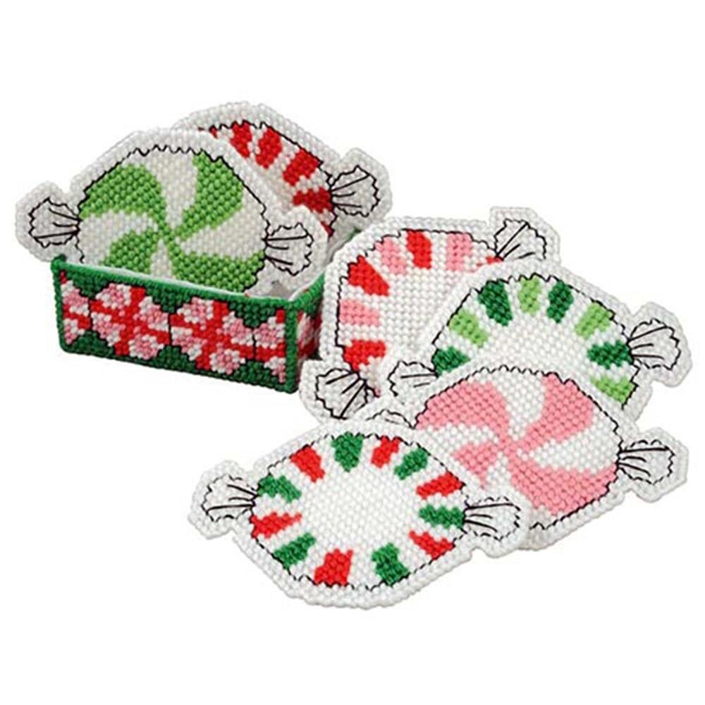 Craftways Peppermint Coasters with Holder Plastic Canvas Kit