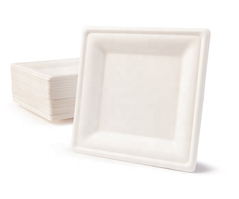Environmentally friendly disposable Bagasse cockery set, white square sugar cane plate, Bio disposable bowls,